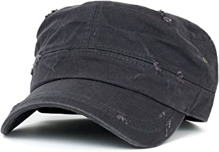 ililily Distressed Cotton Cadet Cap with Adjustable Strap Army Style Hat