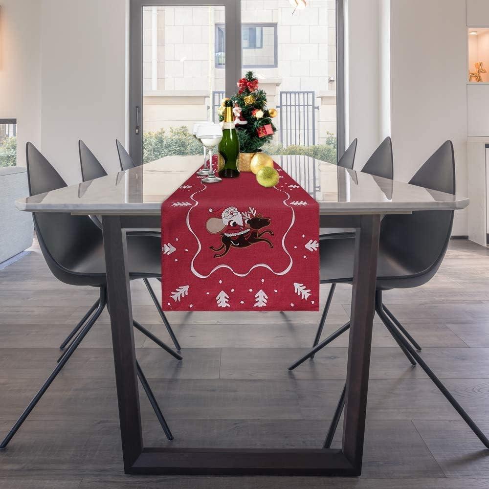 180 cm Grigio HALOVIE Runner da Tavolo Natale tovaglia Decorazioni Natalizie per Natale Casa Hotel Feste Decorazione 40
