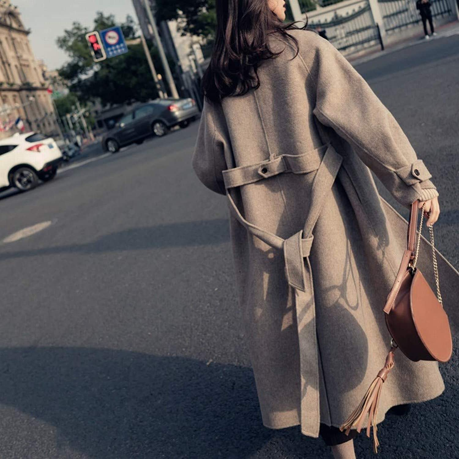 Retro Woolen Coat in Autumn and Winter, Women's Long Loose Loose Woolen Coat, Autumn and Winter Woolen Coat XQY