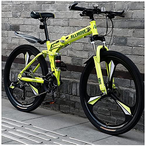 Faltbares Mountainbike, Offroad-Mountainbike, Mountainbike Mit Variabler Geschwindigkeit FüR Erwachsene, 26-Zoll-Falt-Mountainbike Mit 21 GäNgen (DREI Messer grün)