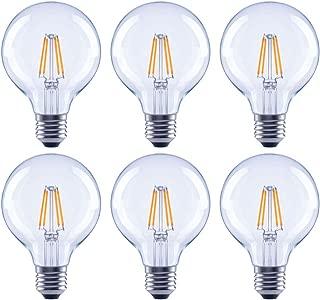 Global Value Lighting FG-03182 60-Watt Equivalent G25 Clear Glass Filament Dimmable Vintage LED Light Bulb, 6-Pack