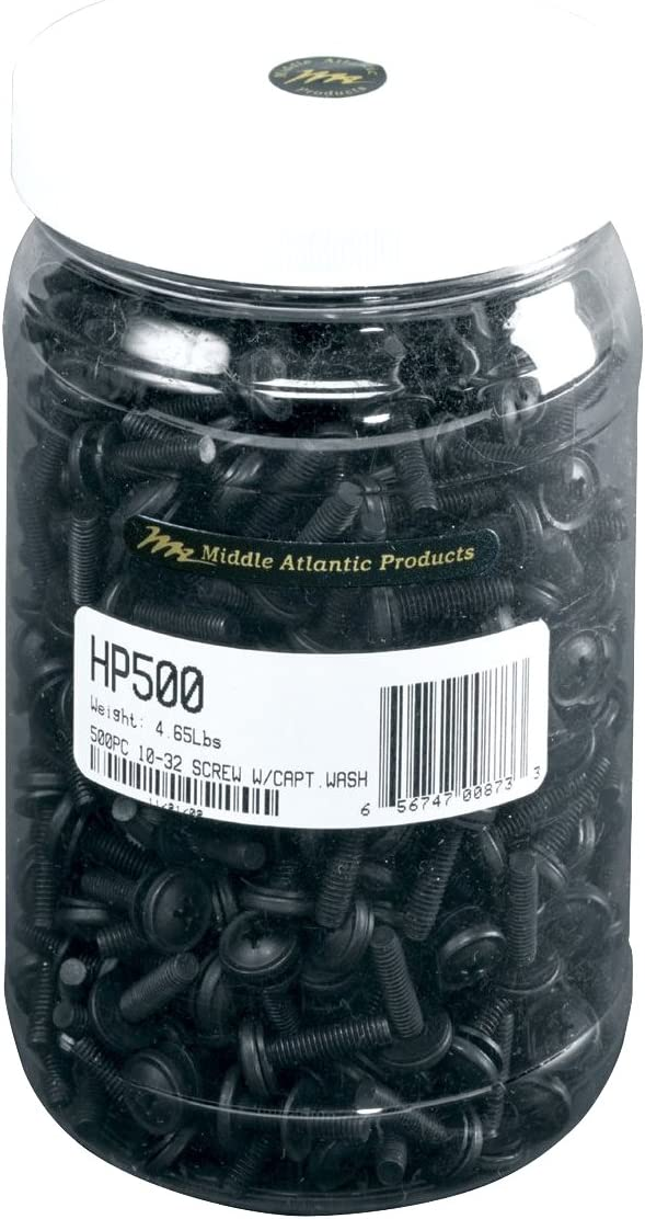 Middle Atlantic Products 10-32 Mtg. Screws and Nylon Washer, Pkg/500 HP500