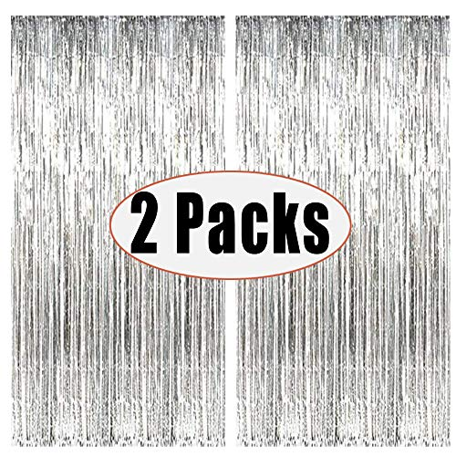 FECEDY 2pcs 3ft x 8.3ft Silver Metallic Tinsel Foil Fringe Curtains Photo Booth Props for Birthday Wedding Engagement Bridal Shower Baby Shower Bachelorette Holiday Celebration Party Decorations