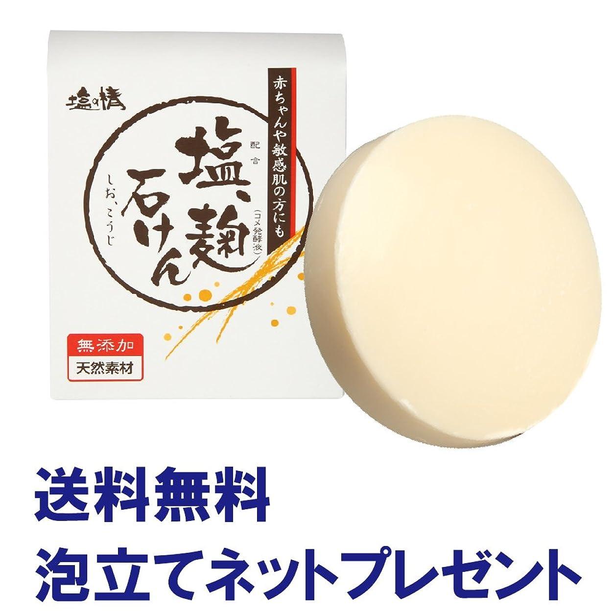 相対サイズ怠けたシャーロットブロンテダイム 塩の精 無添加 塩、麹洗顔石鹸 80g 泡立てネットプレゼント