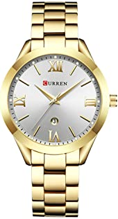 Curren 9007 Quartz Movement Round Dial Stainless Steel Waterproof Women Watch - Rose Gold, Blue