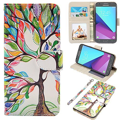 Samsung Galaxy J3 Emerge Case, J3 2017 Case, J3 Prime Case, Amp Prime 2 Case, UrSpeedtekLive J3 Emerge Wallet Case, Premium PU Leather Flip Case Cover w/Card Slots & Kickstand(Love Tree)