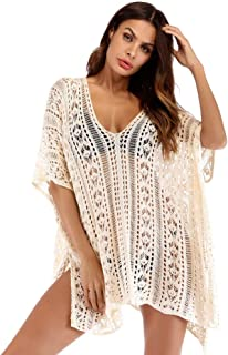 GLUUE Women's Fashion Swimwear Crochet Cover Up Summer Womens Beach Wear