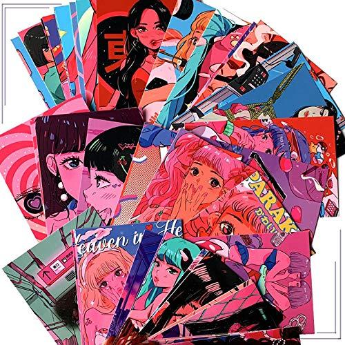 8 Blatt Retro japanische Mädchen Postkarte Wanddekoration Poster Hand Konto Album Dekoration Aufkleber Korean Photo Requisiten Geschenk