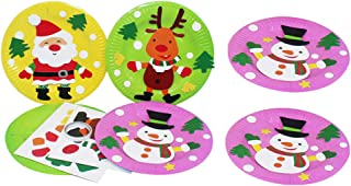 NUOBESTY 6pcs Christmas Paper Plate Art Kit Snowman Reindeer Santa Claus DIY Sticker for Kids Toddler Crafts Art Toys Clas...