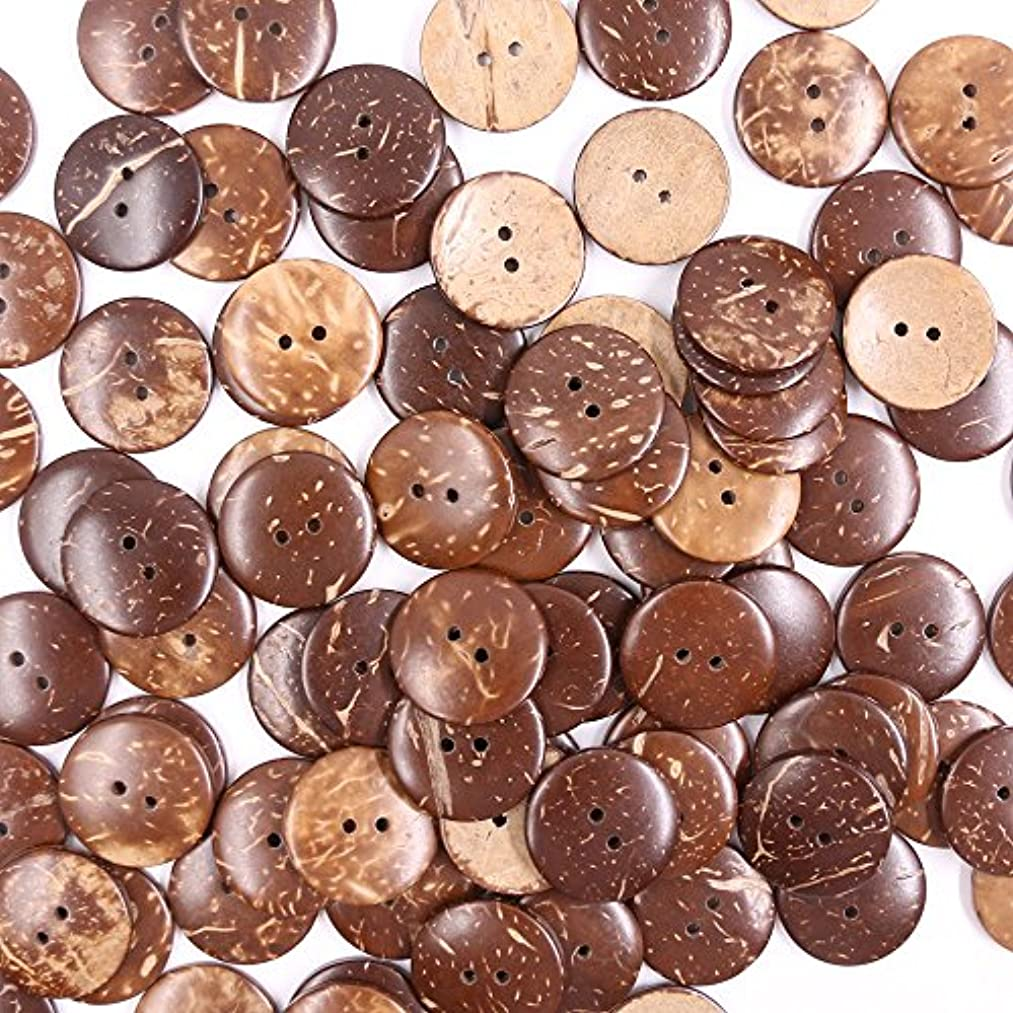 Renashed 100pcs Brown New Thick Coconut Shell Buttons 2 Hole Craft Sewing Buttons/hot Products 2.5cm