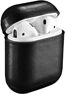 For AirPods Protective Case Genuine Vintage Leather with soft microfiber wall inside - Black