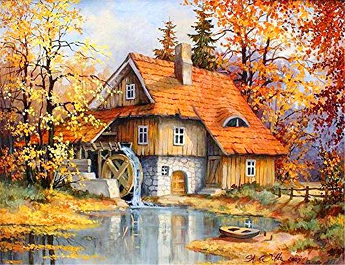 DIY 5D Diamond Painting Kits Full Drill,Crystal Rhinestone Cross Stitch Diamond Painting Adults/Kids Mosaic Pictures Embroidery Art Craft for Home Wall Decor(Wood House 25x30cm/10x12in Round Drill)