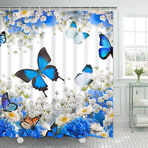 Ikfashoni Flower Butterfly Shower Curtain, Blue Floral Shower Curtain with 12 Hooks, Waterproof Fabric Bath Shower Curtain for Bathroom, Blue White, 69 x 70 inch