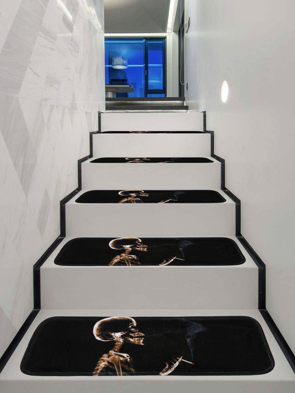 KKJJ Antideslizante Alfombra de la Escalera habitación Esteras de la Escalera Diseño de Calavera fumadora Tiras Autoadhesivas para escalones, Seguridad para niños, Ancianos y Mascotas,5PCS: Amazon.es: Hogar
