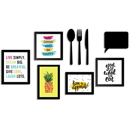 ART STREET - Set of 5 Wall wood Photo Frame/Art Prints for Dinning Table, Kitchen or Eating Area with MDF Cutlery and Chalk Board, Black