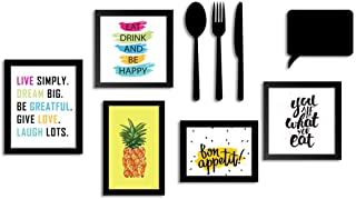 ART STREET - Set of 5 Wall Photo Frame/Art Prints for Dinning Table, Kitchen or Eating Area with MDF Cutlery and Chalk Board