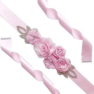 XIAOJIE Elegant Rose Flowers Shape Pearl Beads Waist Belt for Bridesmaid Bride Dress Pink 270CM
