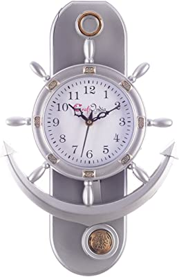 eCraftIndia Decorative Retro Anchor Plastic Pendulum Wall Clock (31 cm x 3 cm x 39 cm, White)