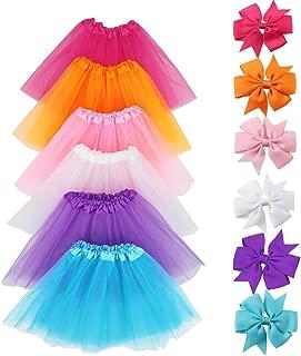 LYLKD 6Pcs Tutus for Girls Princess Ballet Tulle Skirt Dress Up Costumes(2-8T)