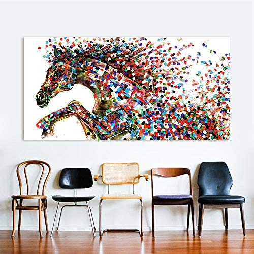 N / A Animal Wall Art Picture for Living Room Home Decoration Canvas Dot Painting Painting Vaulting Horse Frameless 12X24 cm