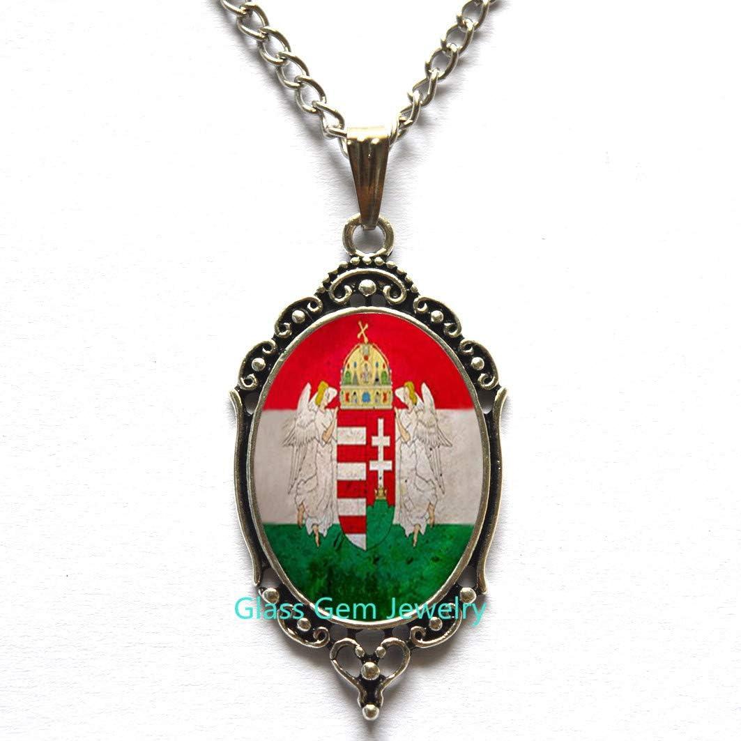 Hungary Jewelry Budapest Necklace Flag Pendant Hungary Necklace Hungary Flag Necklace s Pendant,Q0277