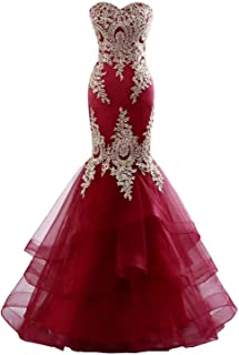Women's Mermaid Evening Dress Backless Formal Long Prom Dress with Embroidery