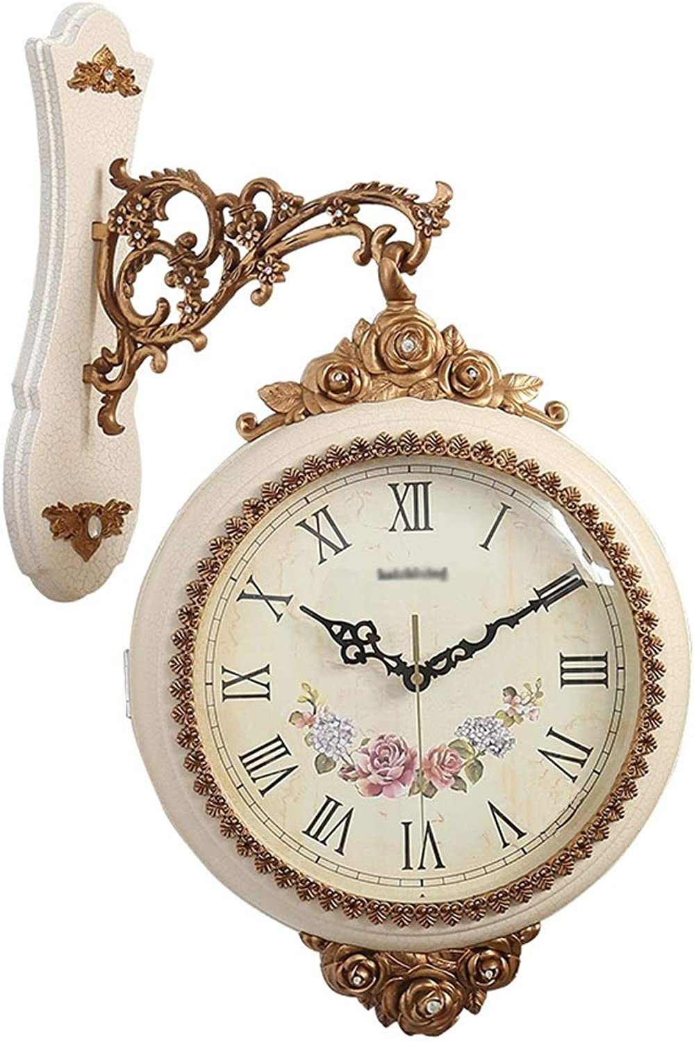 YONGMEI Wall Clock - Clock Creative Double-Sided Wall Clock Fashion Craft Clock Restaurant Living Room Electronic Clock Silent Quartz Clock (color   Beige, Size   56  37cm)