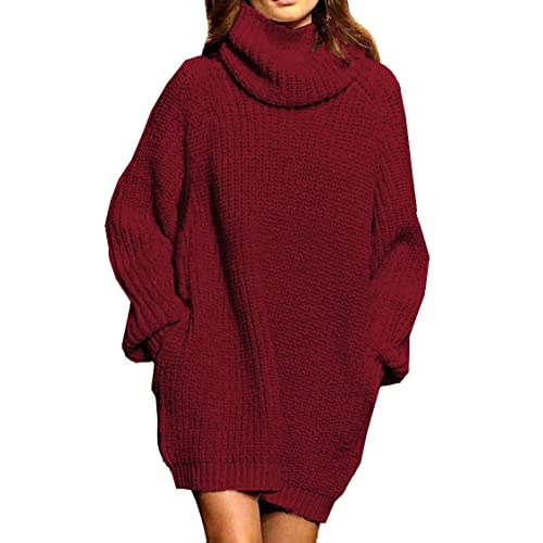 77cfdc6f Pink Queen Women's Loose Oversize Turtleneck Wool Long Pullover Sweater  Dress
