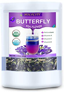 Organic Blue Butterfly Pea Flower Tea, 2.8oz (80g), 100% Naturally Dried Thai Herb for Food, Tea, Smoothie or Soap