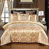 Cupocupa Ropa de cama romántica de satén, 3 piezas, 220 x 240 cm, diseño barroco, cremallera oculta, con 2 fundas de almohada de 80 x 80 cm JS1*2024+2*8