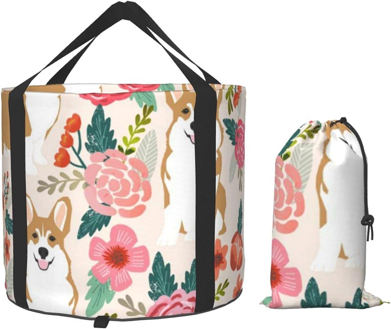 35% OFF VVEGACE Corgi Floral Gorgeous Flowers Spring Multifun Bucket Collapsible