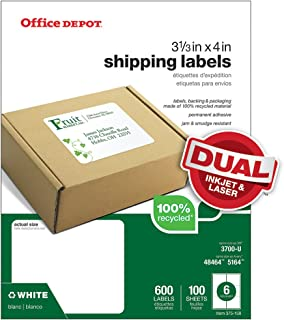 Office Depot Brand 100% Recycled Mailing Labels, Shipping, 3 1/3