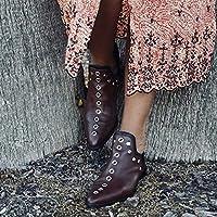 女性のアンクルブーツレトロリベットブーツ女性のための秋冬の先のとがったつま先の靴女性のローヒールの靴,Wine red,38