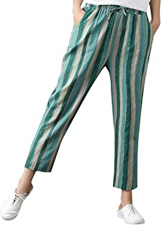 JOFOW Womens Pants Harem Striped Polka Dots Print Loose Crop Trousers