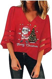 KHFU Christmas Deep V-Neck Mesh Top Women's Trumpet Sleeves Loose Blouse