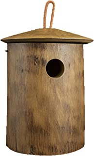 Byer of Maine Natural Bluebird Bird Home, Mango Wood, Painted, Sized Specifically for Bluebirds, Natural Wood Finish, 8.75