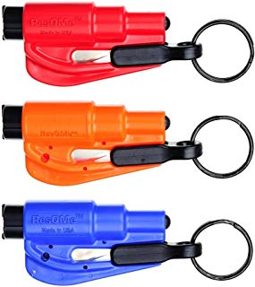 RESQME RQMY01, RQMBK01, RQMRB01 3-Piece The Original Keychain Car Escape Tool Kit (Red, Orange and Blue)