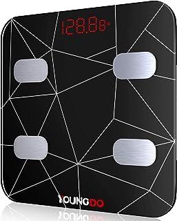 YOUNGDO Báscula Grasa Corporal 30 * 30, Báscula Baño Digital Bluetooth Inteligente Con USB Carga 19 Medidas Corporales Esenciales Grasa Corporal, Músculo, BMI etc. 999 Usuarios para Android e iOS