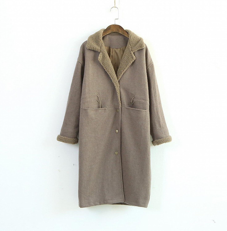 DEED Women's CoatSimple Casual Autumn Women 'S Solid Lapel Coat Long Section Drawstring Windbreaker Cardigan