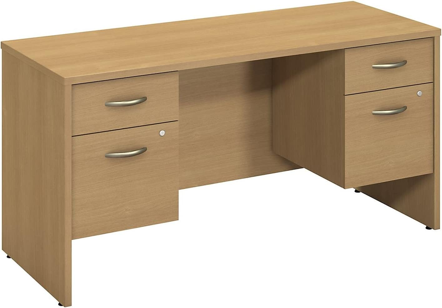 Bush Business Furniture Series C 60W X 24D Credenza Shell with Two 3/4 Pedestals in Light Oak