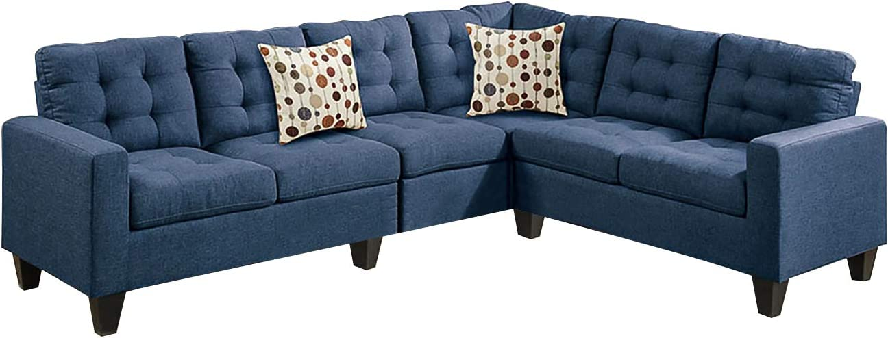 Amazon Com Poundex F6938 Bobkona Burril Linen Like 4 Piece Left Or Right Hand Reversible Sectional Set Navy Furniture Decor