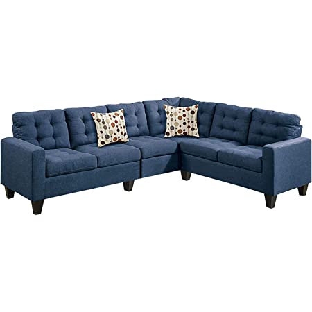 Amazon Com Poundex F6938 Bobkona Burril Linen Like 4 Piece Left Or Right Hand Reversible Sectional Set Navy Furniture Decor