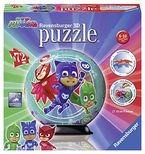 Ravensburger- Puzzle Ball 3D 72 Piezas, PJ Masks, Multicolor (11797)