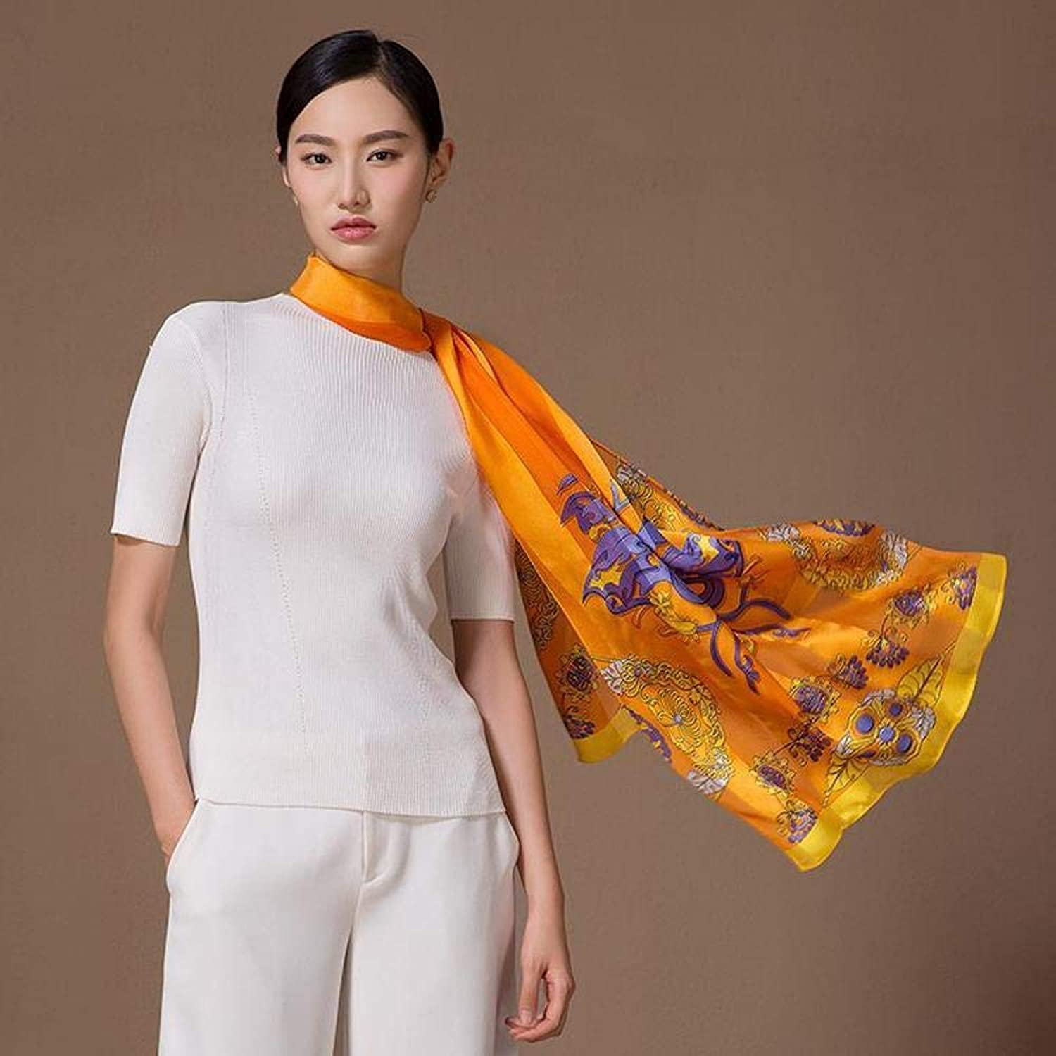 Weiwei Ladies Silk Shawl Silk Scarf Send Friends and Family Light and Breathable 175CM50CM