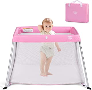 BABY JOY Baby Playpen, Ultra-Light Aluminum Portable Foldable Travel Crib with Comfy Mattress & Oxford Carry Bag, Pink