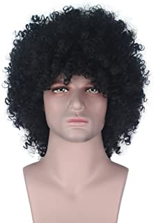 Men Synthetic Short Afro Kinky Curly Wig Boy Kids Black Party Fan Costume Cosplay Wig