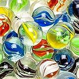 Ucradle 100pcs Traditionell Sortiert Bunt Klassisch Glasmurmeln, Glas Murmelspiel in Netzbeutel für Arcade- und Tischspiele Sportspielzeug und Outdoor, Deko Glaskügelchen bunt Pflanzendekoration - 2
