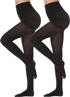Alebear Women's Control Top Tights Stretch Opaque Ultra Soft 70 Denier Tights Black/Suntan