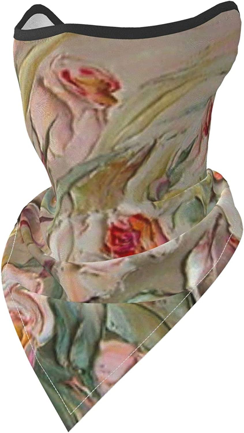 Roses Pink Flowers Oil Painting Breathable Bandana Face Mask Neck Gaiter Windproof Sports Mask Scarf Headwear for Men Women Outdoor Hiking Cycling Running Motorcycling