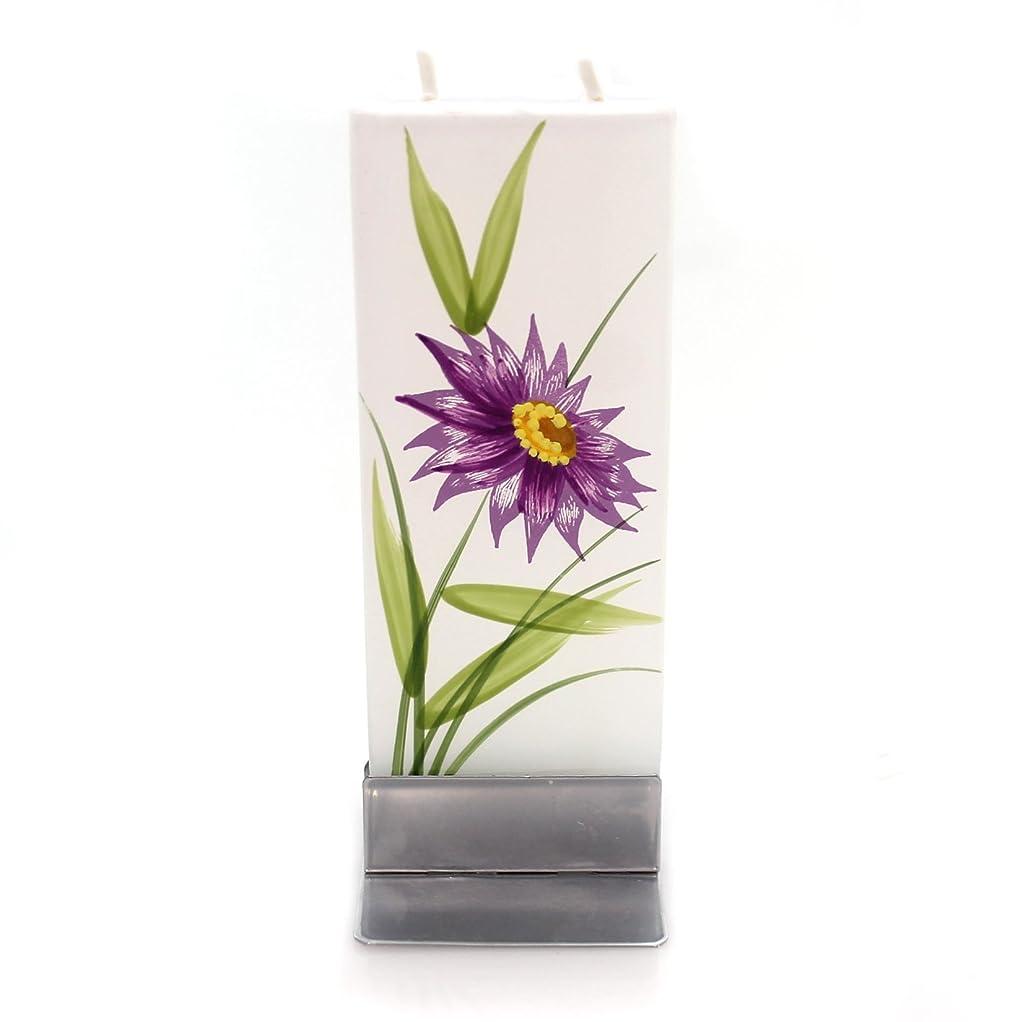 にはまって風景翻訳者ホームデコレーションパープル花W /イエローCentre Dripless Fragrance Free Candle f1640